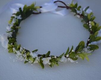 Boxwood Flower Crown - Bridal Hair Wreath - Greenery Crown - Photo Prop - Flower Girl Crown - Garden Wedding - White & Green Hair Wreath