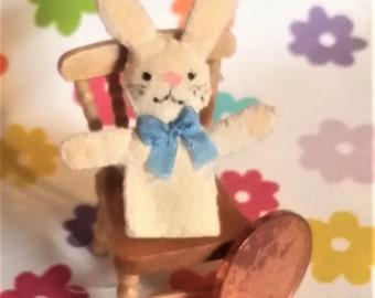 Handcrafted Bobby Bunny - Dollshouse Miniature Hand Puppet