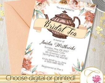 Bridal Tea Shower Invitation - Tea Party - Neutral Earth tones Champagne Natural - Bridal Luncheon Brunch Custom - Printable or Delivered