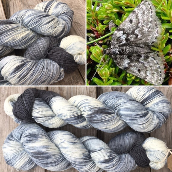 Mountain Moth, BFL nylon blend grey gray speckle dyed indie sock yarn