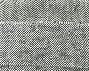 Black And White Herringbone Weave Organic Cotton Khadi Fabric / Organic Khadi Herringbone Fabric / Apparel, Upholstery Khadi / EcoFriendly
