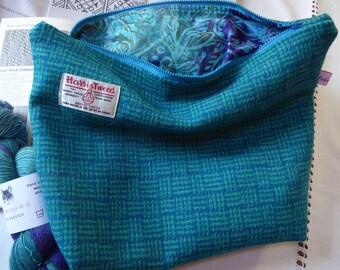 Knitting Bag, Knitting Project Bag in Harris Tweed
