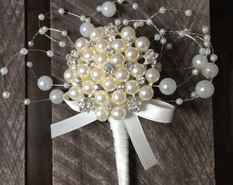 Pearl brooch bouttoniere - grooms boutonniere - ushers buttonhole- mother if the bride