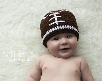 Crochet baby hat, football baby hat, baby boy beanie, baby boy hat, newborn photo prop, baby football hat, newborn football beanie