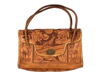 Vintage Tooled Leather Bag with Roses and Deer Design, Embossed Leather Handbag Purse