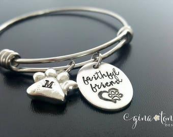 Personalized Animal Lover Bracelet, Pet Memorial Bracelet, Dog Lover Bracelet, Cat Lover Bracelet, Paw Print Bracelet, Dog Remembrance Cat