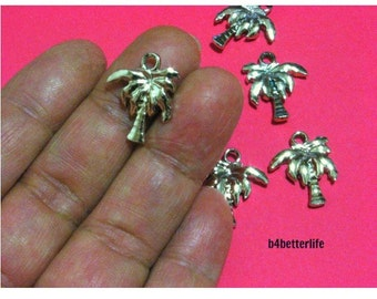 """Lot of 24pcs """"Banana Tree"""" Double Sided Gold Color Plated Metal Charms. #XX240."""