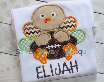 Football Turkey Thanksgiving Machine Applique Design