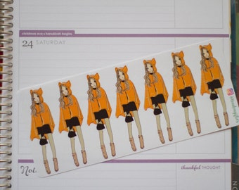 Cute fox cape girl - functional doodle character girl planner stickers suitable for any planner -228-