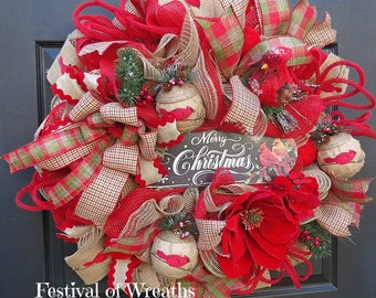 Christmas Wreath - Christmas Front Door Wreath - Deco Mesh Wreath - Christmas Decor - Mesh Wreath - Christmas