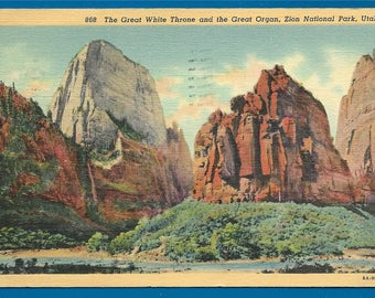 Vintage Linen Postcard - The Great White Throne and Great Organ at Zion National Park in Utah  (2438)