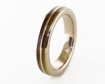 mens wedding band white gold 18k with olive and white oak mens jewelry wodden