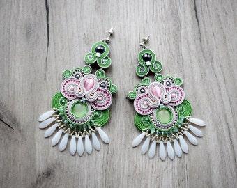 Soutache earrings  - elegant long earrings - soutache braid jewelry- chandelier earrings - bridal jewelry - bridesmaids - filigree earrings