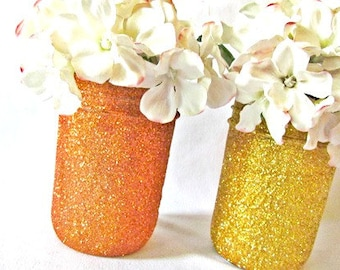 Tropical Wedding Centerpieces, Glitter Jar, Pick your size and colors, Bridal Shower, Summer Birthday Dinner Party I DO BBQ certerpieces