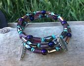 Feather Purple Turquoise Hematite Crystal Bracelet Wrap, Native American Indian, Boho Hippie Jewelry, Bangle Wristlet Feathers