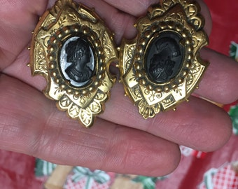 Old Shoe Buckles - Clips - Make Wonderful Brooches! ~ Mourning Jewelry ~ Cameo Design