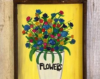 SALE Flower Painting- Framed Flower Painting- Floral Painting- Flower Art- Original Painting- Abstract Flowers- Floral Art- Flowers Painting