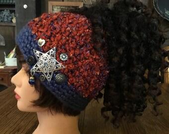 Pony Tail Hat, Child's Ponytail Hat, Small Ponytail Hat, crochet Ponytail Hat