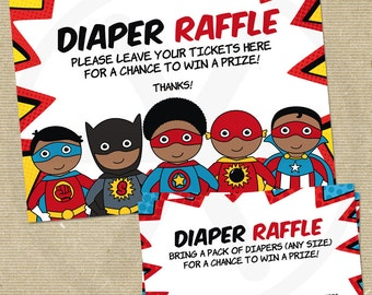 African American Superhero Baby Shower Diaper Raffle. Printable Baby Diaper Raffle Insert. Diapers for Baby Cards. Superbaby Shower Games