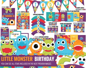 Little Monster Birthday Decorations - Funny Kids Party Decor Package - Cute Little Monster 1st Birthday. DIY Party Printables. Editable Text