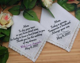 Mother of the Bride and Mother of the Groom Handkerchiefs. Set of 2 Hankies. Custom Handkerchiefs. Wedding Handkerchiefs. Embroidered Hankie