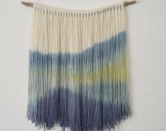 Hand Dyed Wall Hanging - Dip Dyed Yarn Tapestry- Boho Wall Hanging - Boho Decor