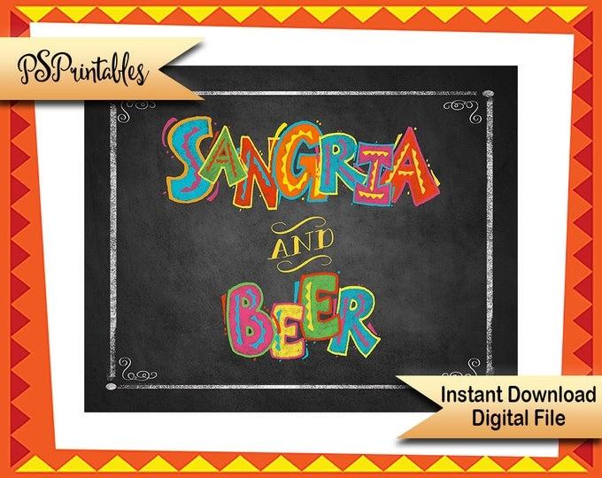 Printable Fiesta Party Decor, Sangria & Beer Wedding Fiesta Sign, Fiesta Birthday sign,  chalkboard printable sign, Cinco De Mayo Decoration