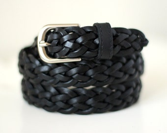 Free shipping! Black belt, black leather belt, black wicker belt, black braided belt, gift idea, black woman belt, black waist belt