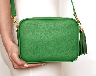 Free shipping! Green bag, leather bag, green leather bag, green purse, green crossbody, green shoulder bag, everyday bag, small green bag