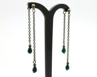 Double earrings drops marble