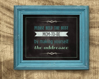 Address an Envelope Sign, Baby Shower Sign, Chalkboard Baby Shower, Co-ed Baby Shower, Help mommy to be by addressing an envelope