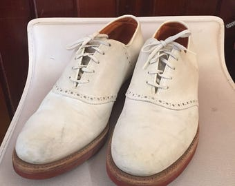 1990S // COLE HAAN // Size 9 Two Made in USA White Oxford Shoes