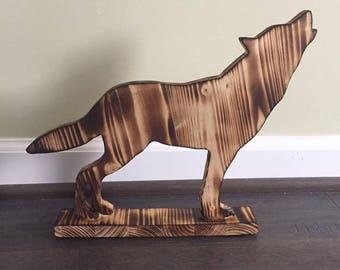 Handmade Wooden Wolf Figurine