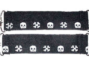Black White Skull Bones Boot Clips 2 Boot Pant Clips Guards Stirrups Strong Durable FOE~ can be used as  Mitten Clips Boot Clip Blanket Clip