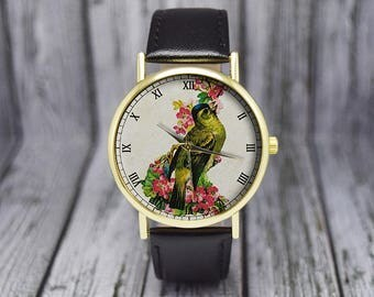 Vintage Bird and Flowers Watch | Red | Leather Watch | Ladies Watch | Gift for Her | Birthday | Wedding | Gift Ideas | Fashion Accessories