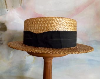 "Vintage 1940s Straw Boater Hat 22"" Made In America"