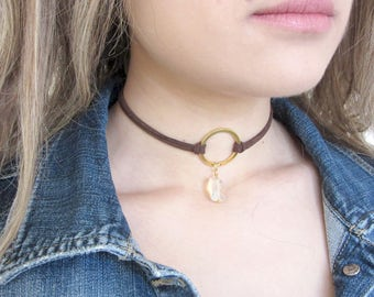 Choker Necklace, Suede Choker Necklace, Pendant Choker, Bohemian Necklace, Brown Choker, Fashion Jewelry, Leather Choker, Boho Jewelry