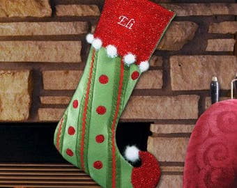 Monogrammed Christmas Stocking, Personalized Holiday Stocking