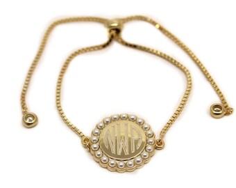 Monogrammed Bracelet, Adjustable Bracelet, Engraved, Gold, Sterling