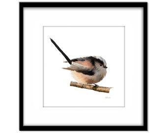 Printable Art, Pink and Black Baby Bird Instant Download, Fluffy Longtailed Tit Printable Poster, Bird Art, Wall Art