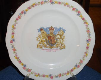 Vintage 1953 Queen Anne Bone China, England - Coronation of Elizabeth II Commemorative Plate