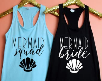 Bachelorette Party Shirts, Mermaid Bride, Mermaid Squad Fitted Racerback Tank Top, Bachelorette Party Tank, Bachelorette Party Shirt