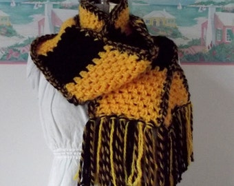 Mizzou Scarf, Soft Scarf, Thick Scarf, Black Gold, Handmade Crochet Scarf, Missouri Tigers, MU, Unisex, Football Fan, Basketball Fan Wear