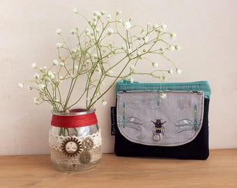 Bee fabric zipper pouch, snap wallet, coin purse wallet, womens pouch