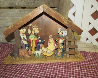 "Vintage Wood Manger Nativity Scene Set Creche 11"" x 7 1/2"" Set of 11 Pieces Religious Christmas Baby Jesus"