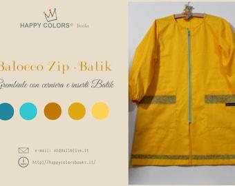 "Apron ""Balocco ZIP-Batik cotton-kindergarten school painting and other activities-Waldorf-Montessori-for children and adults"