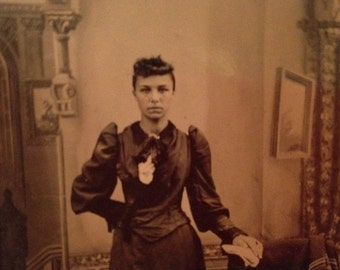 ON SALE Antique 1800's Tintype Photograph Photo of a Pretty Young Woman