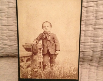 ON SALE Bangor ME Maine 1800's antique cabinet card of a young boy with bow tie and hat -- vintage old photo ephemera