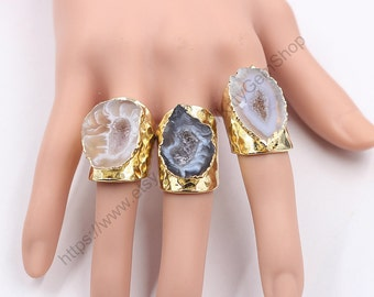 Open Druzy Rings -- With Electroplated Gold Drusy Gemstone Bridesmaid Jewelry Supplies Wholesale YHA-080