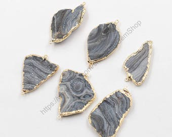 Gray Druzy Connectors -- Agate Druzzy Drusy With Electroplated Gold Edge Charms Wholesale Supplies YHA-223